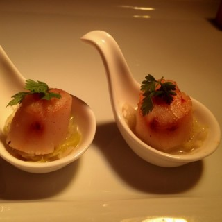 Pan-Seared Scallop with Braised Leek a la creque, topped w Sze Sauce -   / Hua Ting (Orchard)|Singapore