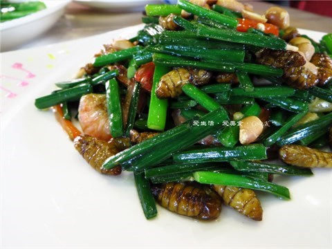 花生韭菜花炒蚕虫•虾仔 - Zhongshandaxue's 南国凤厨|Yue (Guangdong) - Guangzhou